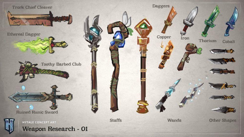 Armes avec différents matériaux