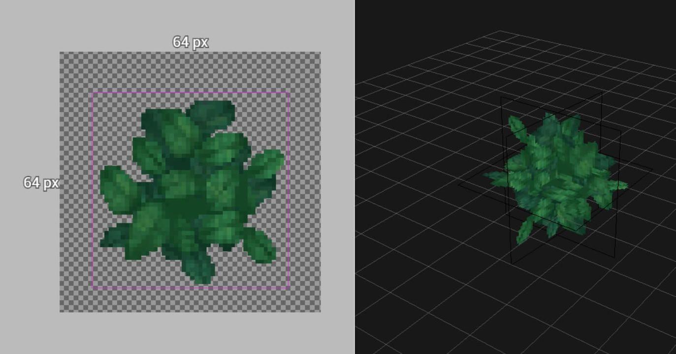 """Voilà à quoi ressemble un bloc """"feuillage"""" sur le Hytale Model Maker."""