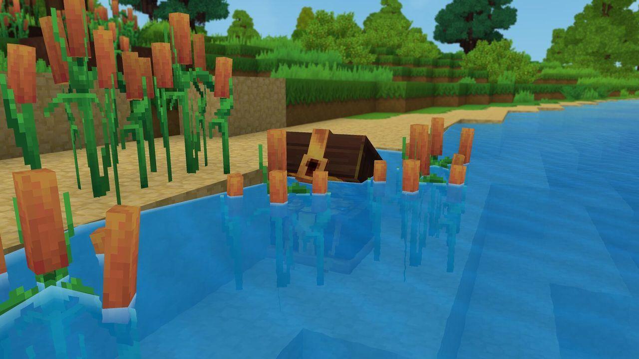 Voici un exemple de blocs pouvant être submergés : les roseaux et les trésors engloutis.