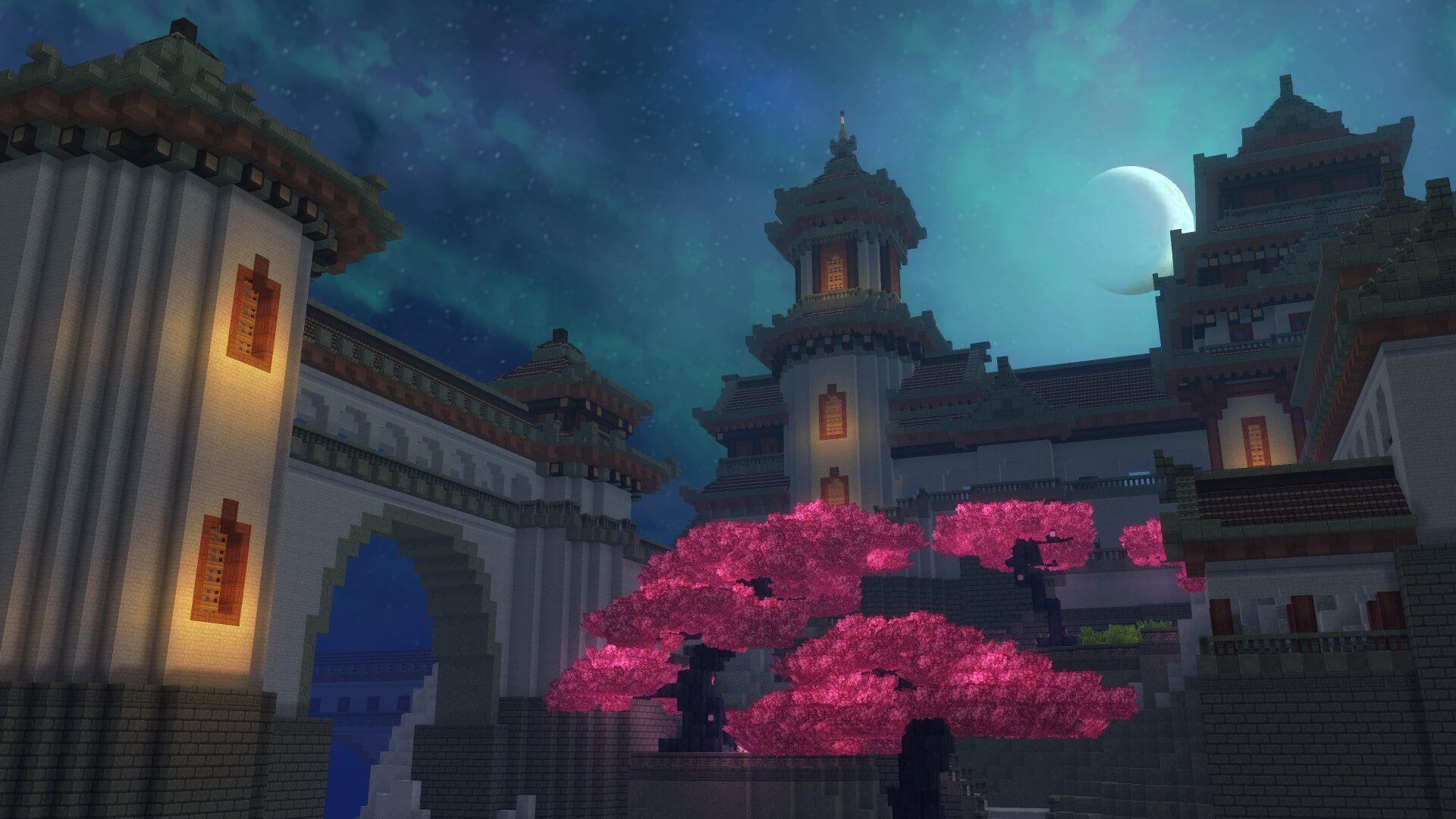 chateau et arbre rose japonais
