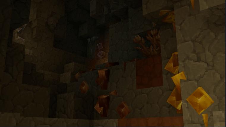 Ici, la fréquence d'apparition (spawn) des minerais a été poussée à l'extrême.