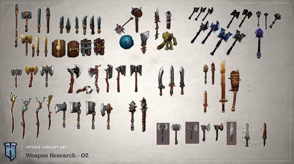 Présentation des armes de Hytale