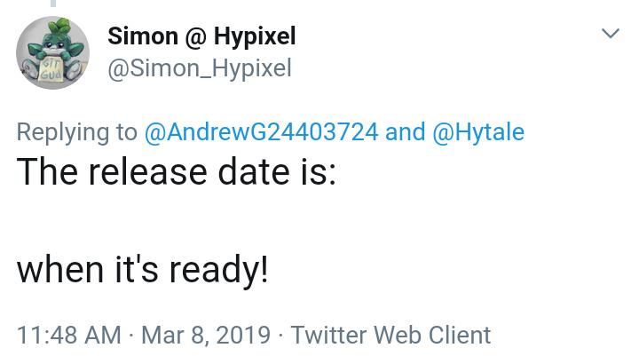 Tweet de Simon concernant la date de sortie du jeu