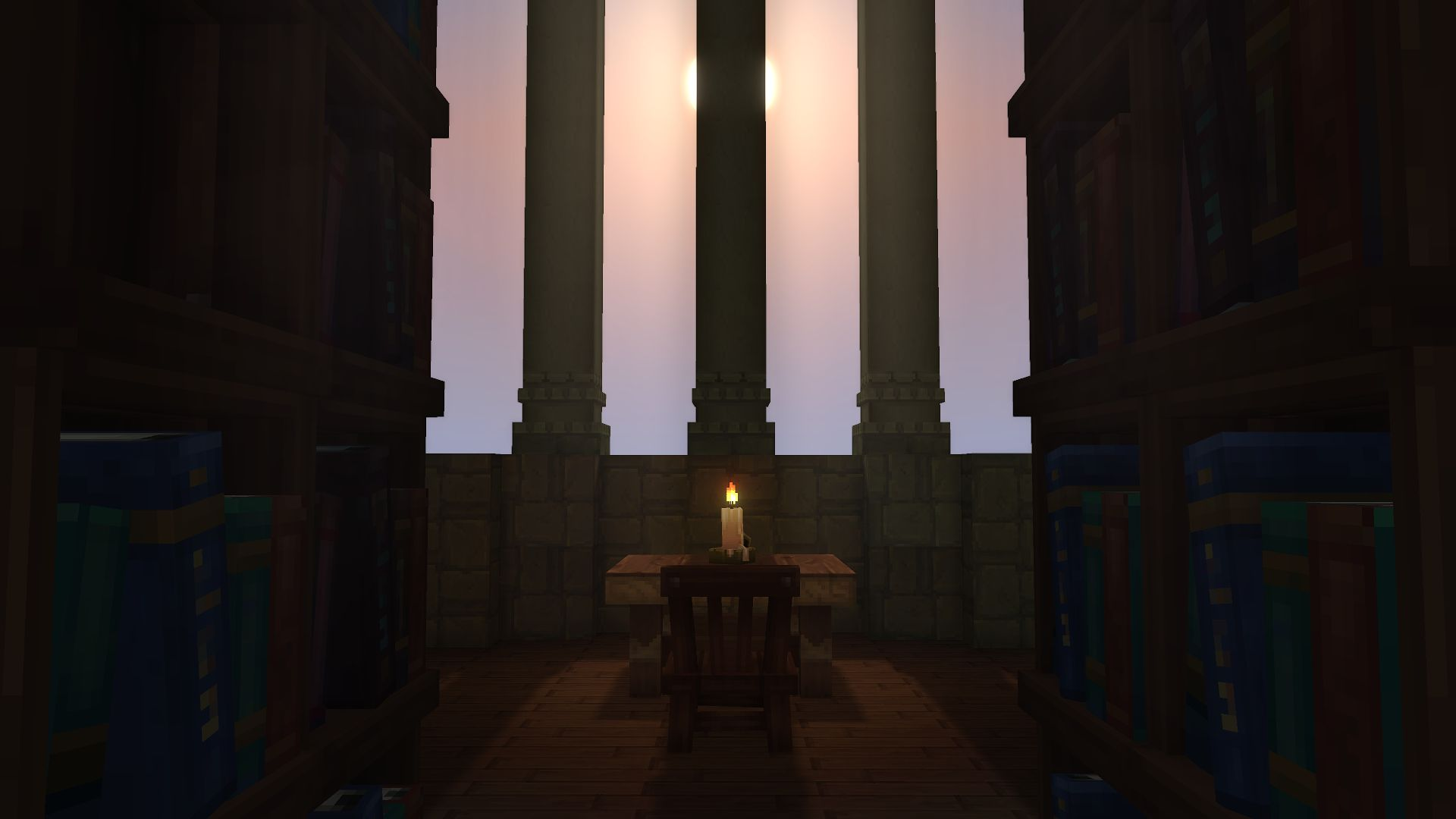 ambiance bibliothèque intérieur lumière