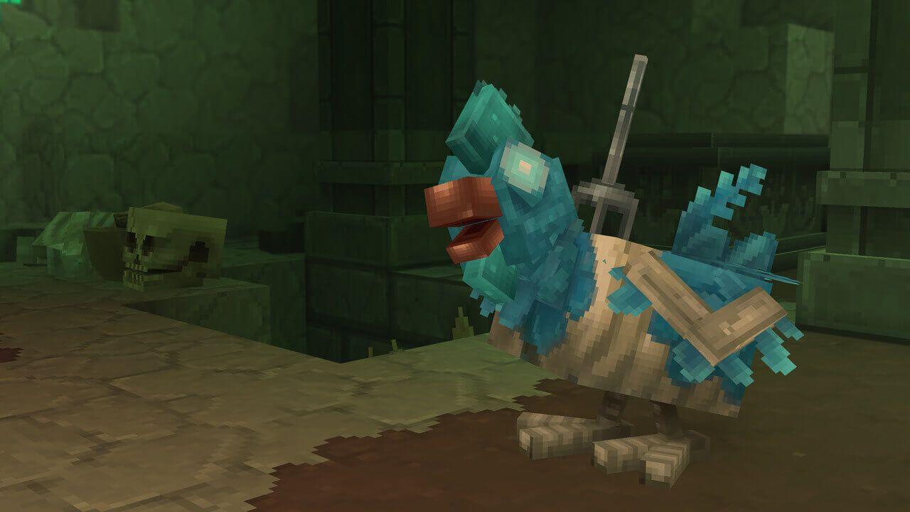 hytale poulet zombie bleu avec une fourche